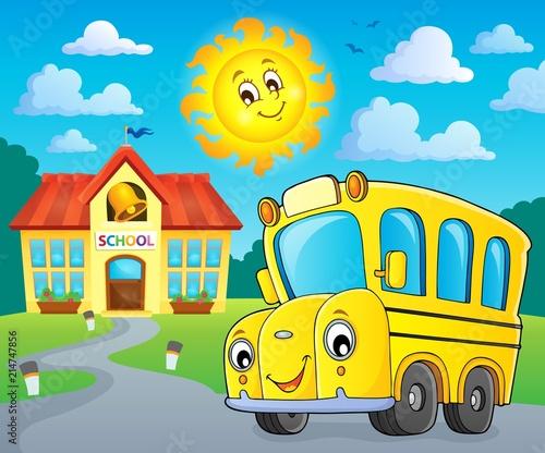 Deurstickers Voor kinderen School bus thematics image 2