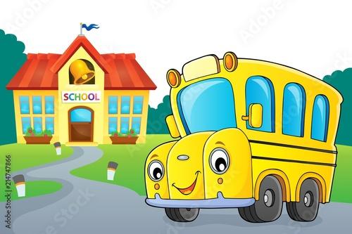 Deurstickers Voor kinderen School bus thematics image 3