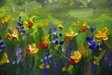 Flower Oil Painting. Violet, O...