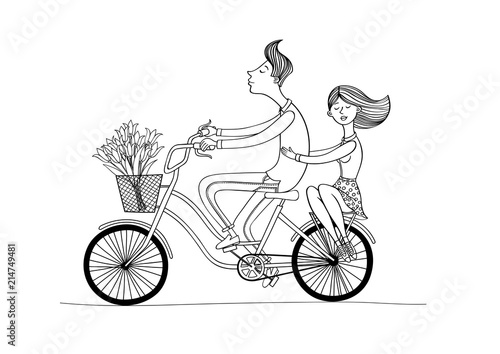 Bike Boy And Girl Bwboy And Girl Rides A Bicycle Drawing Lines