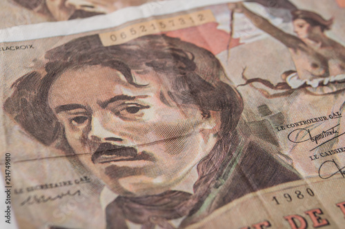 Tablou Canvas closeup of bank note of cent franc, the french vintage money