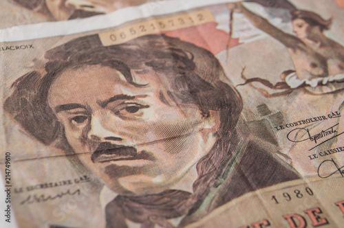 Fotografia, Obraz closeup of bank note of cent franc, the french vintage money
