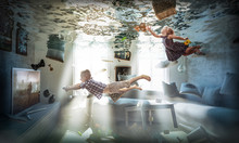 Creative And Abstract Image, Flooded Living Room, Floating Objects And Children Playing As If Nothing Had Happened. Concept Of Carelessness To Domestic Problems And Disasters. Lightheartedness