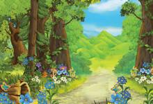 Cartoon Summer Scene With Path...