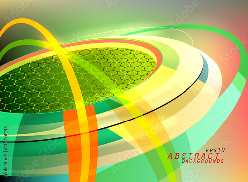 Green Colors Curved Motion Graphics Scene Vector Abstract