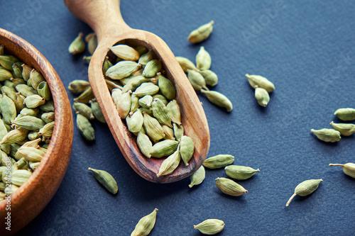 Fototapeta Super food cardamom health food selection in spoon. obraz