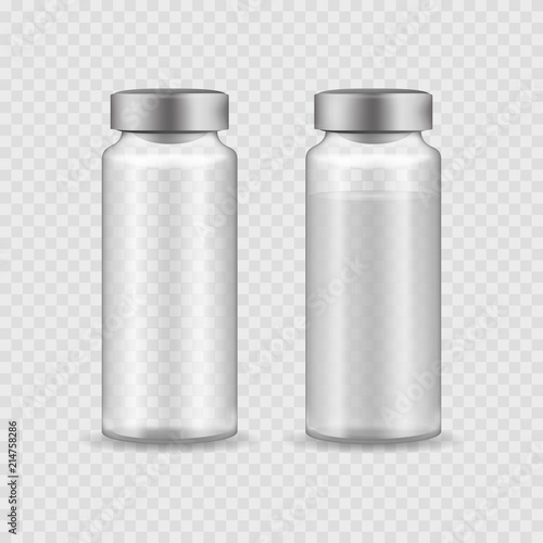 Realistic Detailed 3d Medical Ampoule with Aluminum Cap Set Canvas Print