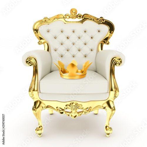 throne, royal chair with golden crown