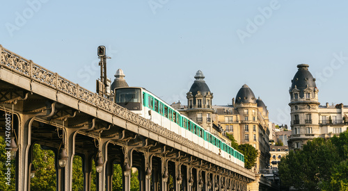 Bir-Hakeim bridge with metro train in paris