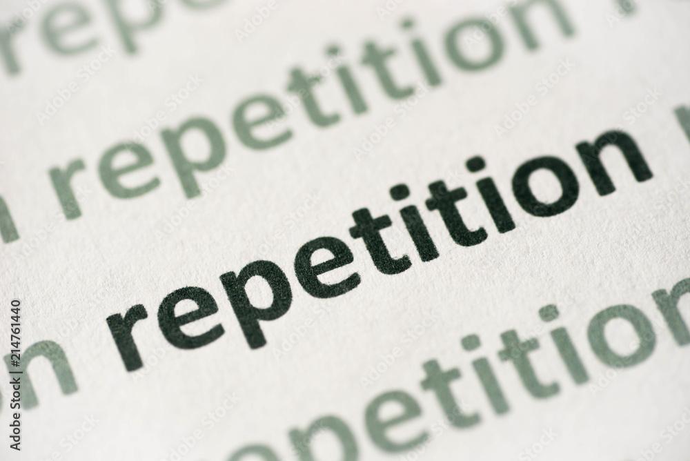 Fényképezés word repetition printed on paper macro