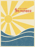 Summer retro poster. Sun over the sea waves. Vintage grunge style