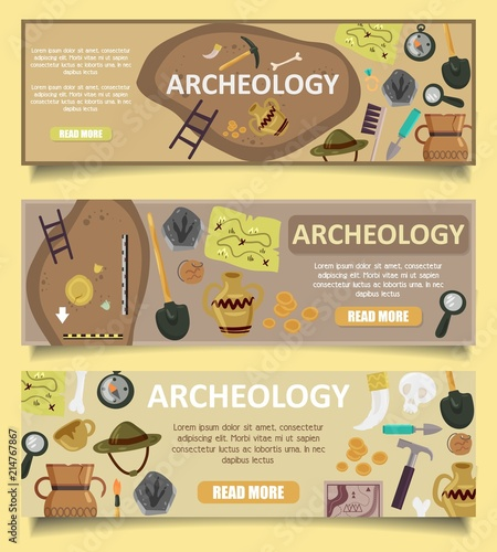 Photo Archaeology vector banners web templates