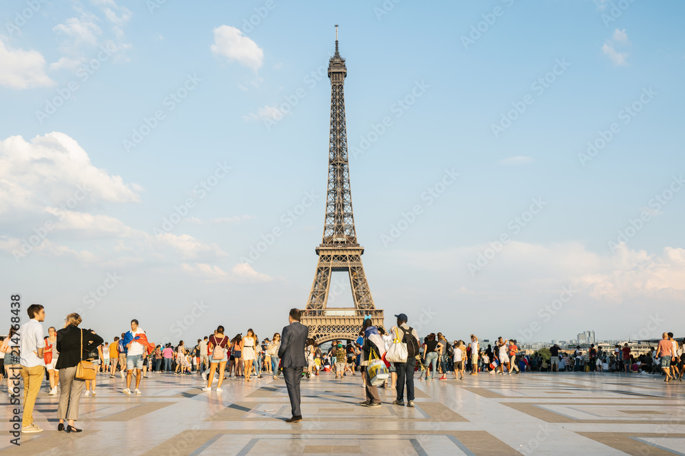 Trocadero square with crowd of people and view of the eiffel tower