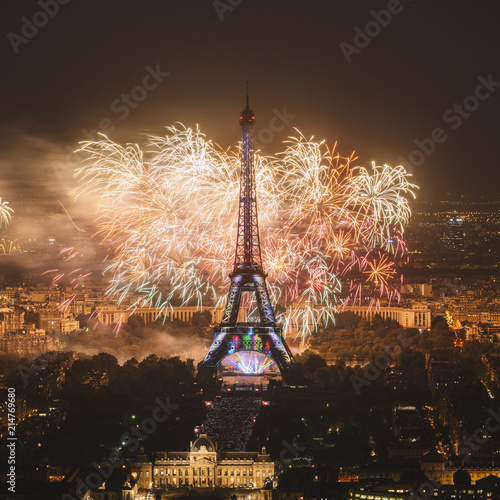 Photo Stands Eiffel Tower Eiffel tower with fireworks, celebration of the New Year in Paris, France