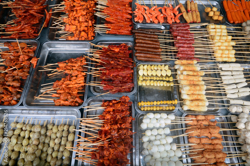 Foto op Aluminium Buffet, Bar Roasting pork skewers,Pork barbecue wood plug, vietnam food