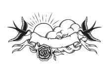 Vintage Romantic Tattoo Design Template