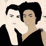 Watercolor Painting of Biracial friends. Girls from or with different cultures, Fashion illustration. Interracial, biracial or multiracial in color. Dark skin. With afro hair - 214772870