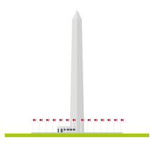 Washington Monument Flat Design Isolated Vector Icon