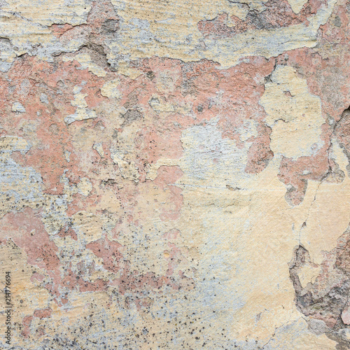 Fotoposter Oude vuile getextureerde muur Old Wall With Peel Grey Stucco Texture. Retro Vintage Worn Wall Background. Decayed Cracked Rough Abstract Wall Surface.