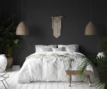 Bedroom Interior With Black Wall,boho Style Decor And White Bed, 3d Render