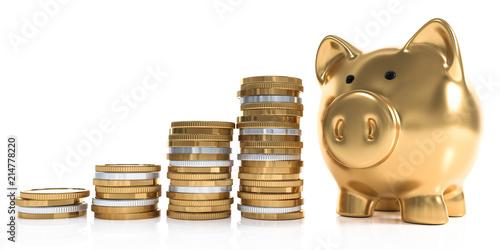 Fotografie, Tablou 3D goldenes Sparschwein mit Geldmünzen