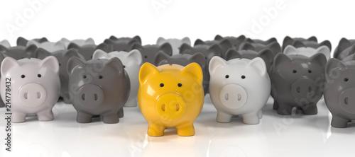 Fototapeta 3D Sparschweine gelb und grau obraz