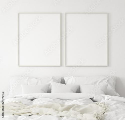 Fototapeta Mock-up poster frame in bedroom, Scandinavian style, 3d render obraz na płótnie