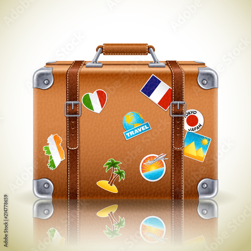 Canvas-taulu Vector illustration - Leather brown vintage suitcase for travel,eps10