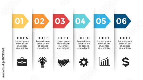Vector paper arrows infographic, banners diagram, labels graph, stickers presentation chart Tableau sur Toile