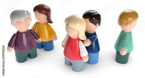 Obraz 3D Männchen Familienaufstellung - fototapety do salonu