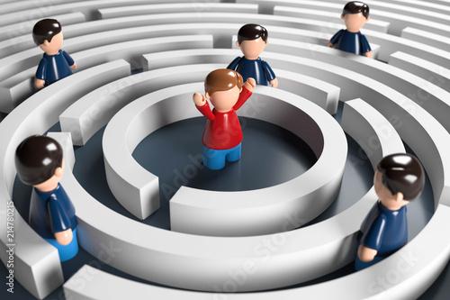 Fotografie, Obraz  3D Männchen Labyrinth Problemlösung