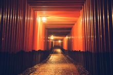 Pathway Orii Gates At Fushimi Inari Shrine At Night And Rain Kyoto, Japan.