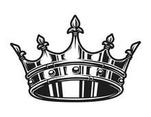 Vintage Monochrome Royal Crown Template