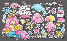 Set Of Summer Sea Stickers. Me...