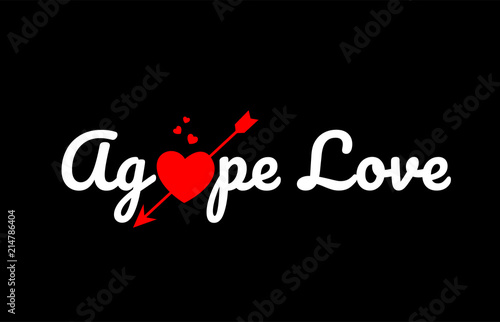 agape love word text with red broken heart Wallpaper Mural