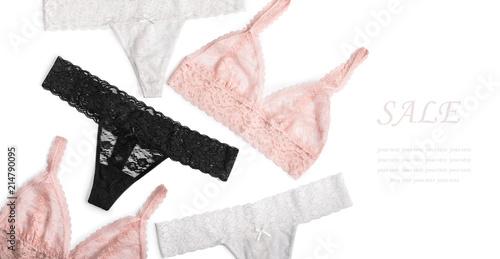 Fotografie, Obraz  Woman lingerie on white