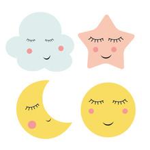 Cute Cloud, Star And Moon  Vec...