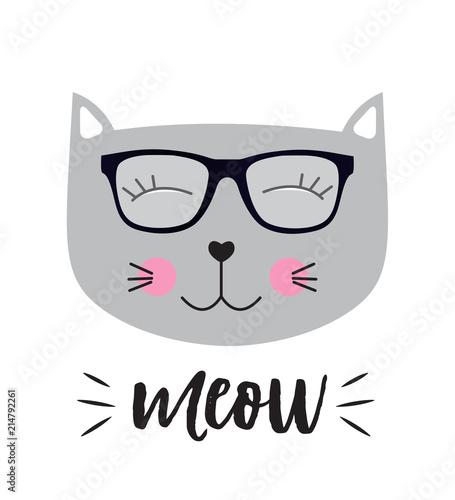 Little Cute Cat Vector Illustration Wallpaper Mural