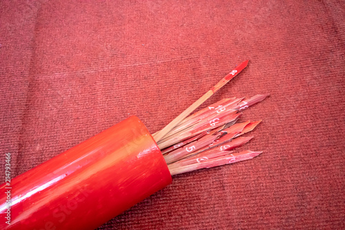 Photo  Chi-Chi Stick, Fortune stick or Seam Si at Chinese shrine in Thailand
