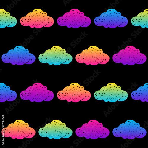 Türaufkleber Künstlich Doodle clouds seamless pattern background. Abstract clouds swatch for card, invitation, poster, textile, bag print, modern workshop advertising, t shirt etc.