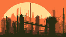 Horizontal Stylized Illustration Industrial Part Of City.