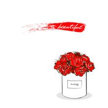 Beautiful Red Flower White Box...