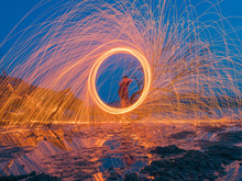 Light Lines Of Steel Wool With...
