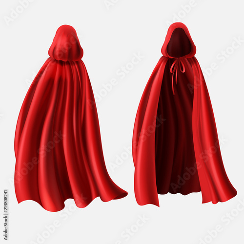 Fotografía Vector realistic set of red cloaks with hoods isolated on white background