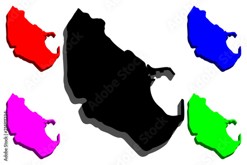 3D map of Melilla (Spanish autonomous city) - black, red, purple, blue and green - vector illustration