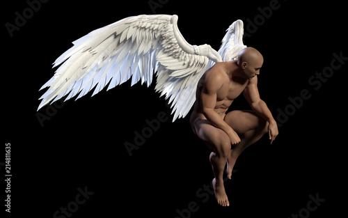 Naklejka premium 3d Illustration Angel Wings, upierzenie białe skrzydło na białym na czarnym tle ze ścieżką przycinającą.