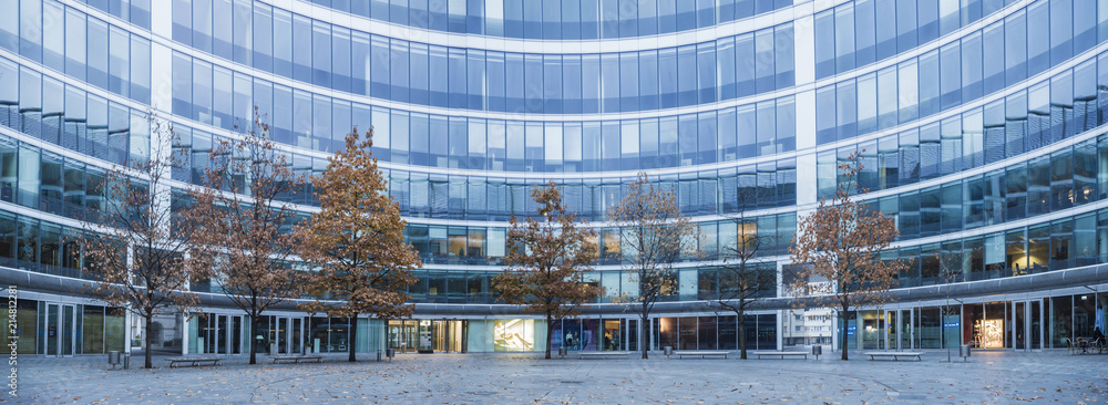 Fototapeta Modern office buildings and trees in an autumn robe