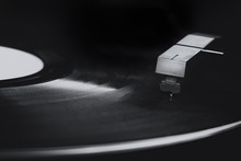 Macro Of Old Vinyl Record Player In Black And White