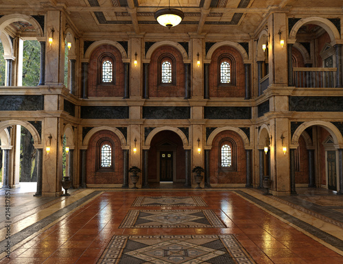 3d render of a luxury palace interior decorated with black and golden marble Fototapeta