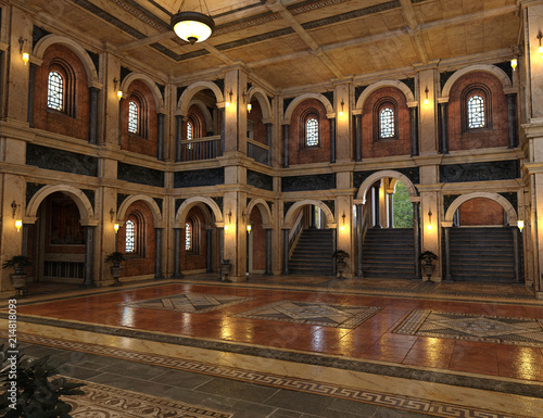 Valokuva 3d render of a luxury palace interior decorated with black and golden marble